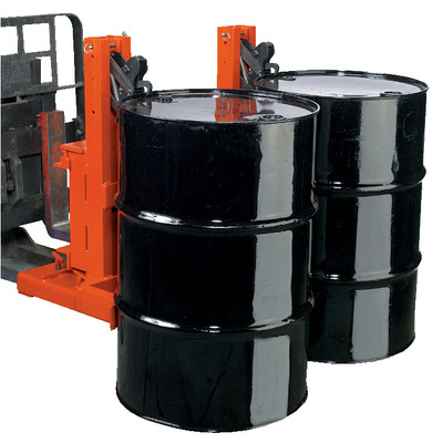 Forklift Safety Mount with Grip-Lock, 2-Drum Fork Lift Attachment
