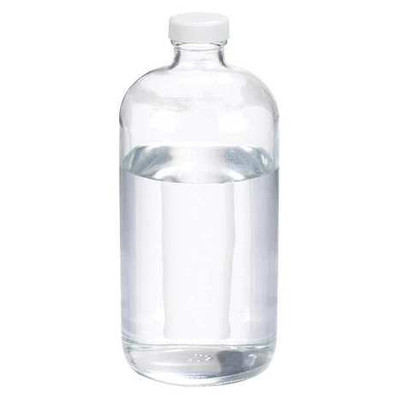 Certified Clean 32 oz Clear Glass Boston Round Bottles with Screw Caps, 33-400, PTFE lined Cap, case/12