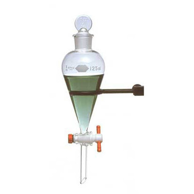 Kimble Autoclavable Squibb Separatory Funnel with PTFE Stopcock, 500ml, Case/4