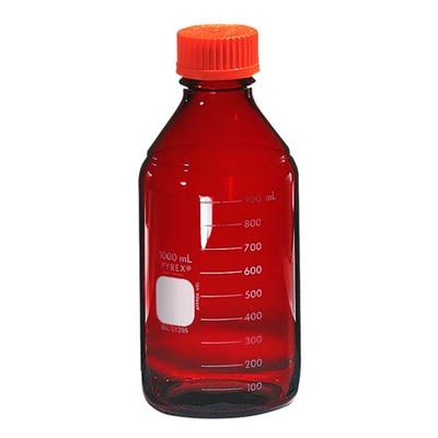 Graduated Pyrex® Media Bottle, 1,000mL, Low Actinic, GL-45, case/4