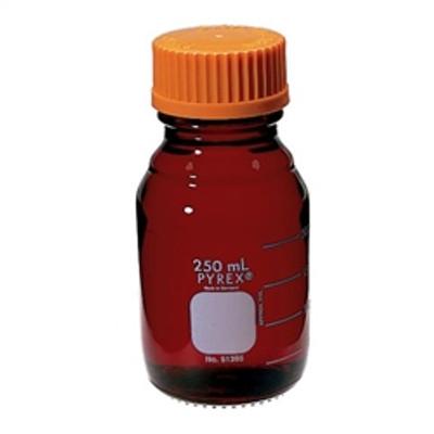 Graduated Pyrex® Media Bottle, 50mL, Low Actinic, GL32, case/4