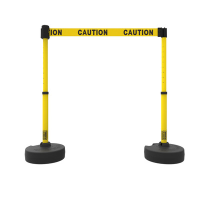 Retractable Safety Barrier Set: 2 Stanchions, 15' Caution Tape / Security Belt
