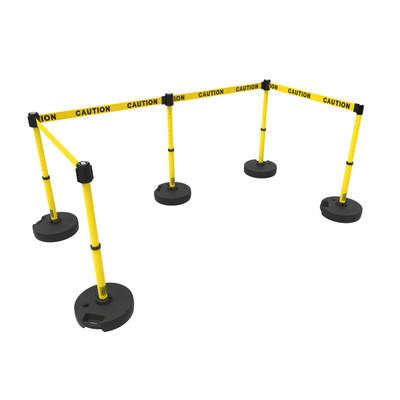 Retractable Safety Barrier Set: 5 Stanchions, 60' Caution Tape / Security Belt