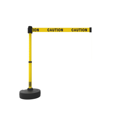 Retractable Safety Barrier Add-on: 1 Stanchion, 15' Caution Tape / Security Belt