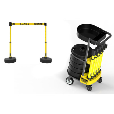 Safety Barrier Cart with Tray, 5 Stanchions, 75' Belt Barrier