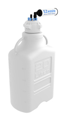 """EZwaste Carboy 20L HDPE with VersaCap 6 ports and 1 port for 1/8""""and  1/4"""" HB or 3/8""""HB OD Tubing"""