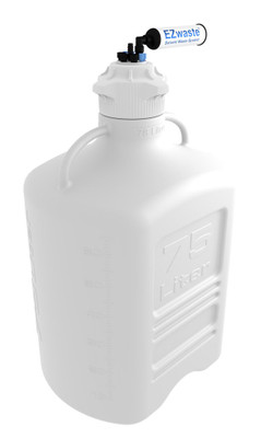 """EZwaste Carboy 75L HDPE with VersaCap 120mm 4 Ports, 3 Ports and 1 Port for 1/8"""" and 1/4"""" HB or 3/8"""" HB"""