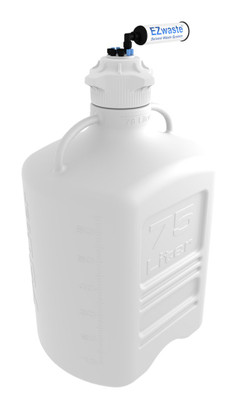 """EZwaste Carboy 75L HDPE with VersaCap 120mm 4 Ports for 1/8"""" OD Tubing and 1/4"""" OD Tubing"""