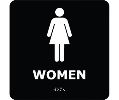 """Message & Graphic Ada Braille Female Figure in Black on Engraved Type Print, 8"""" x 8"""""""
