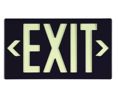 Message & Graphic Exit Sign in Glow (Yellow) on Black Color with Bracket