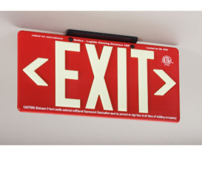 100Ft Visible Graphic Exit Sign in Glow (Yellow) on Red Color with Bracket