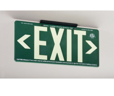 100Ft Visible Graphic Exit Sign in Glow (Yellow) on Green Color with Bracket