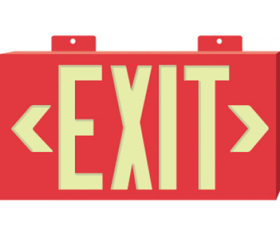 Metal Framed Red Exit Sign Globrite with Bracket 8.25 x 15.25 Inch