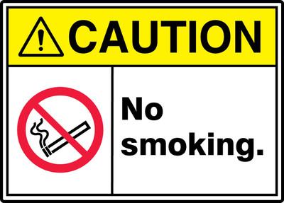 """ANSI ISO Safety Sign - CAUTION: No Smoking., 10"""" x 14"""", Pack/10"""