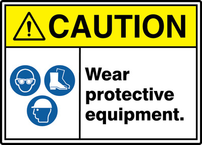 "ANSI ISO Safety Sign - CAUTION: Wear Protective Equipment., 10"" x 14"", Pack/10"