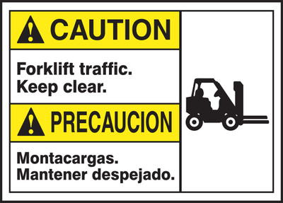 "Spanish (Mexican) Bilingual ANSI ISO Caution Visual Alert Safety Sign: Forklift Traffic - Keep Clear, 10"" x 14"", Pack/10"