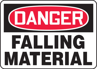 "OSHA Safety Sign - DANGER: Falling Material, 10"" x 14"", Pack/10"