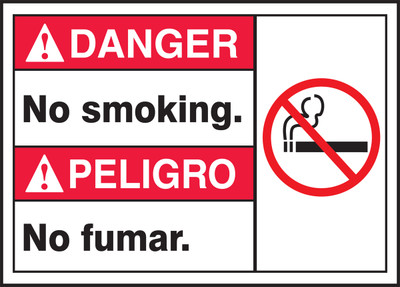 "Spanish (Mexican) Bilingual ANSI Danger Visual Alert Safety Sign: No Smoking, 10"" x 14"", Pack/10"