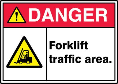 "ANSI ISO Safety Sign - DANGER: Forklift Traffic Area., 10"" x 14"", Pack/10"