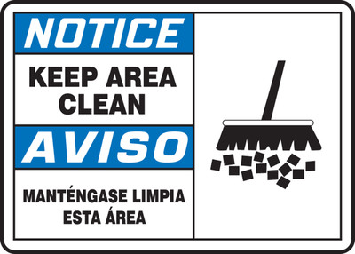 """Bilingual ANSI Safety Sign - NOTICE: Keep Area Clean (Graphic), 10"""" x 14"""", Pack/10"""