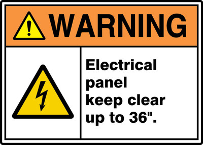"ANSI ISO Warning Safety Sign: Electrical Panel Keep Clear Up To 36""., 10"" x 14"", Pack/10"