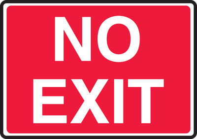 """Safety Sign: No Exit, 10"""" x 14"""", Pack/10"""