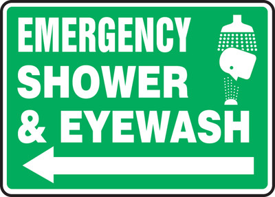 """Safety Sign: Emergency Shower And Eyewash (Graphic And Arrow), 10"""" x 14"""", Pack/10"""