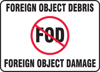 """FOD Poster: Foreign Object Debris - Foreign Object Damage, 10"""" x 14"""", Pack/10"""