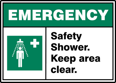 """ANSI ISO Emergency Safety Sign: Safety Shower - Keep Area Clear, 10"""" x 14"""", Pack/10"""