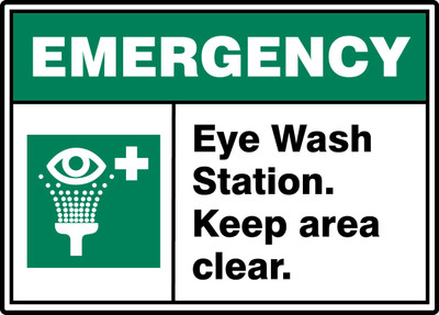 "ANSI ISO Emergency Safety Sign: Eye Wash Station - Keep Area Clear, 10"" x 14"", Pack/10"