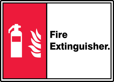 """ANSI ISO Safety Signs: Fire Extinguisher, 10"""" x 14"""", Pack/10"""