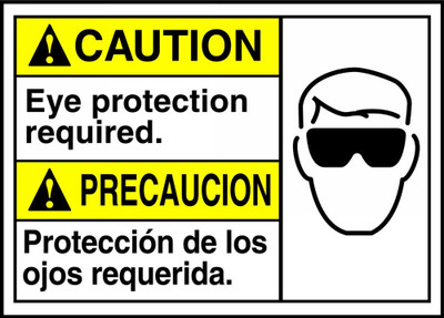 """Bilingual ANSI Safety Sign - CAUTION: Eye Protection Required, 10"""" x 14"""", Pack/10"""