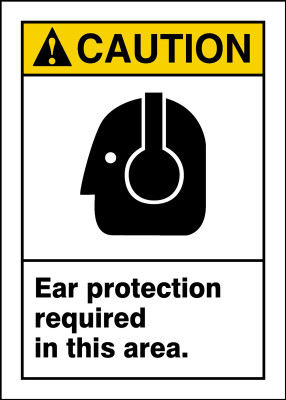 """ANSI Safety Sign - CAUTION: Ear Protection Required In This Area., 14"""" x 10"""", Pack/10"""