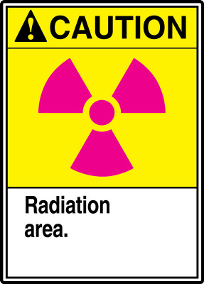 """ANSI Safety Sign - CAUTION: Radiation Area., 14"""" x 10"""", Pack/10"""