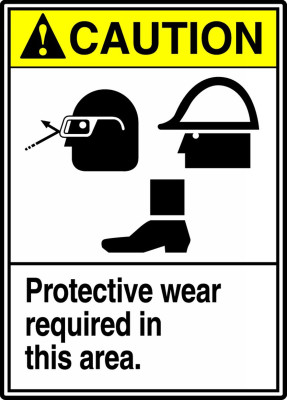 """ANSI Safety Sign - CAUTION: Protective Wear Required In This Area., 14"""" x 10"""", Pack/10"""