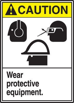 "ANSI Safety Sign - CAUTION: Wear Protective Equipment., 14"" x 10"", Pack/10"