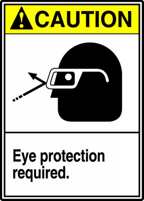 """ANSI Safety Sign - CAUTION: Eye Protection Required, 14"""" x 10"""", Pack/10"""
