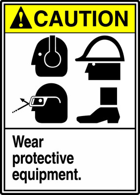 """ANSI Safety Sign - CAUTION: Wear Protective Equipment, 14"""" x 10"""", Pack/10"""