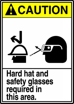 """ANSI Safety Sign - CAUTION: Hard Hat And Safety Glasses Required In This Area, 14"""" x 10"""", Pack/10"""