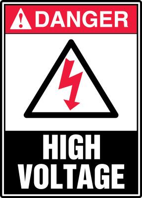 """ANSI Safety Sign - DANGER: High Voltage, 14"""" x 10"""", Pack/10"""