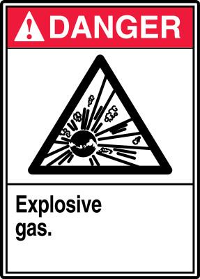 """ANSI Safety Sign - DANGER: Explosive Gas., 14"""" x 10"""", Pack/10"""