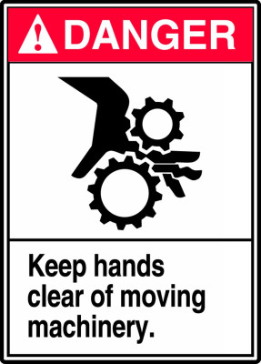 """ANSI Danger Safety Sign - Keep Hands Clear Of Moving Machinery, 14"""" x 10"""", Pack/10"""