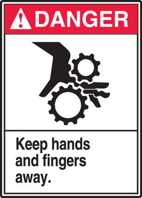 """ANSI Danger Safety Sign - Keep Hands And Fingers Away, 14"""" x 10"""", Pack/10"""