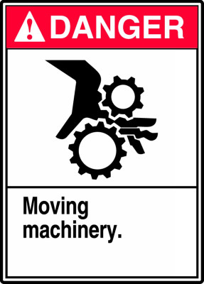 """ANSI Safety Sign - DANGER: Moving Machinery, 14"""" x 10"""", Pack/10"""