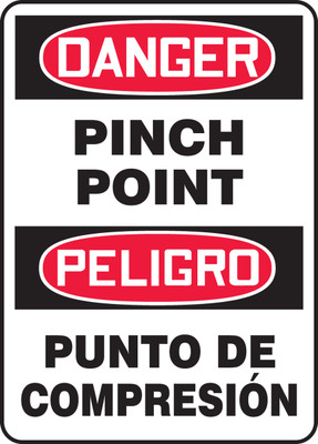 """Bilingual OSHA Safety Sign - DANGER: Pinch Point, 14"""" x 10"""", Pack/10"""