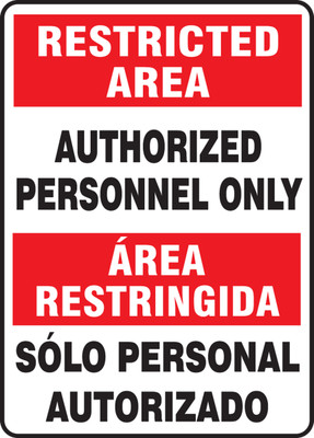 """Bilingual Restricted Area Safety Sign: Authorized Personnel Only, 14"""" x 10"""", Pack/10"""