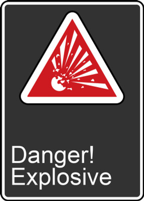 """CSA Safety Sign: Danger! Explosive, 14"""" x 10"""", Pack/10"""