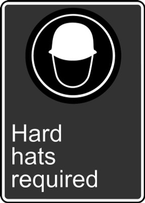 "CSA Safety Sign: Hard Hats Required, 14"" x 10"", Pack/10"