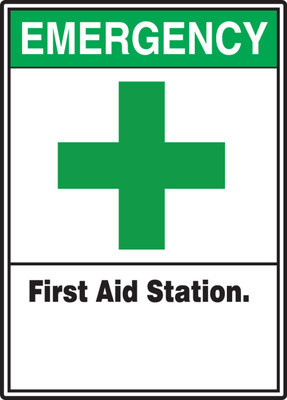 "ANSI Safety Sign: Emergency (Graphic) First Aid Station, 14"" x 10"", Pack/10"