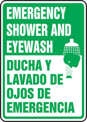 "Bilingual Safety Sign: Emergency Shower And Eyewash, 14"" x 10"", Pack/10"
